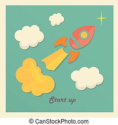 Retro vector illustration concept with rocket for new business project startup ,