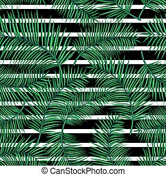 Retro vector illustration of exotic tropical seamless pattern with cartoon bright palm leaves, geometric straight line isolated on white background. Trendy plant endless backdrop. Use for print, web