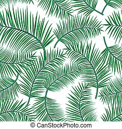 Retro vector illustration of exotic tropical seamless pattern with cartoon palm leaves isolated on white background. Trendy plant endless backdrop. Use for print, web