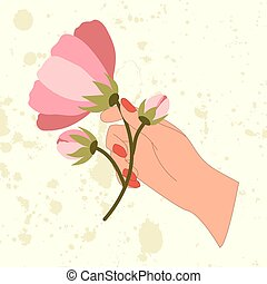 Retro vector illustration of hand with pink flower branch.