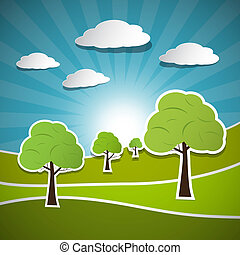 Retro Vector Illustration of Trees, Clouds and Blue Sky