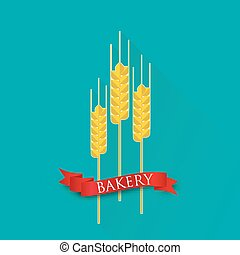 retro vector illustration with ears of wheat and red ribbon. bakery sign.