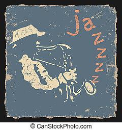 retro, vector, ilustración, con, saxofonista