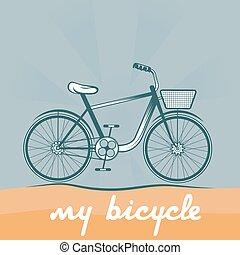 retro, vector, ilustración, de, bicicleta