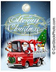 retro, vector, kaart, vrachtwagen, spotprent, kerstmis