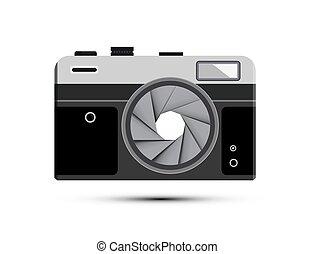 Retro Vector Mirrorless Photography Camera Symbol with Half Closed Aperture