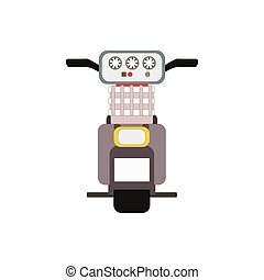 Retro vector moped scooter illustration back view