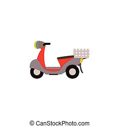 Retro vector moped scooter illustration side view.