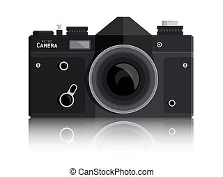 Retro Vector Photo Black Camera Isolated on White Background