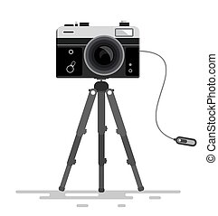 Retro Vector Photo Camera on Tripod Isolated on White...