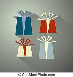 Retro Vector Present Box, Gift Box Set