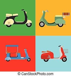Retro vector scooter motorcycle travel design motorbike delivery vehicle illustration.