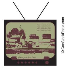 retro vector television with city