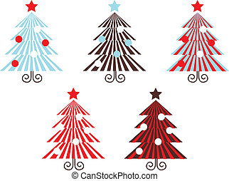 Retro vector Trees collection isolated on white ( red striped )