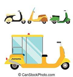 Retro vector vespa scooter motorcycle travel design motorbike delivery vehicle illustration.