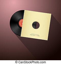 Retro Vector Vinyl Record Disc in Paper Cover