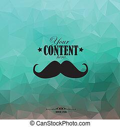 retro, veelhoek, mustache., achtergrond, driehoekig