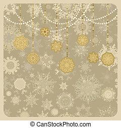 retro, vektor, karácsony, (new, year), card., eps, 8