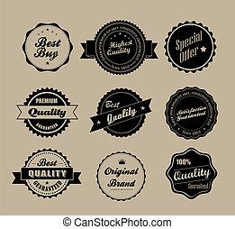 retro, vendange, étiquettes