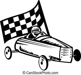retro, vendange, blanc, ou, derby, courses, coureur, savon, drapeau, tribune improvisée, voiture, noir, boîte