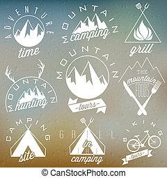 retro, vendange, symboles, pour, montagne