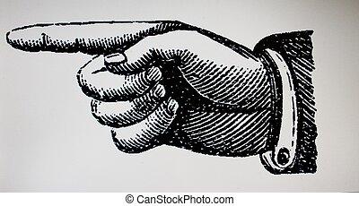 retro, vendemmia, mano, punto, segno