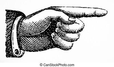 retro, vendemmia, mano, punto, segno, destra