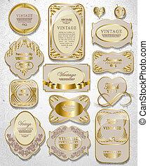retro, vendimia, conjunto, de, blanco, oro, etiqueta