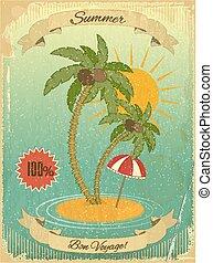 retro, vendimia, grunge, vacaciones del verano, postal