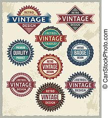 retro, vendimia, insignia, etiqueta, diseños