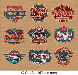 retro, vendimia, insignias, y, etiquetas