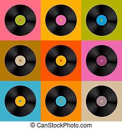 retro, vendimia, vector, registro vinilo, disco, plano de...