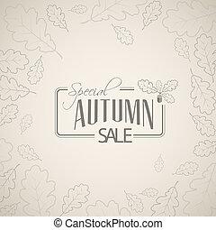 retro, vendita, vettore, manifesto, autunno