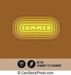 retro, verano, estandarte de título