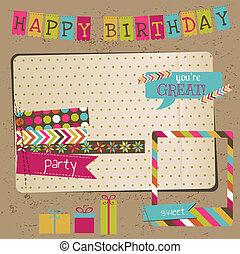 retro, verjaardag viering, ontwerp onderdelen, -, voor, plakboek, uitnodiging, in, vector