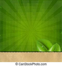 retro, vert, sunburst, fond, texture