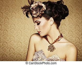 retro, verticaal, van, een, mooi, woman., ouderwetse , stijl