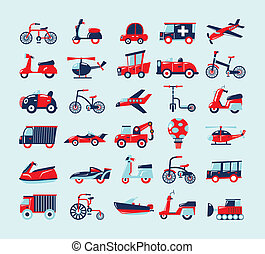 retro, vervoeren, iconen, set