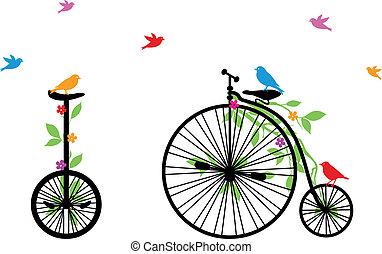 retro, vetorial, pássaros, bicicleta