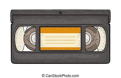 Retro video cassette. Vintage vector color engraving