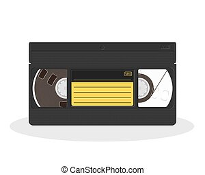 Retro video cassette with black and yellow sticker isolated...