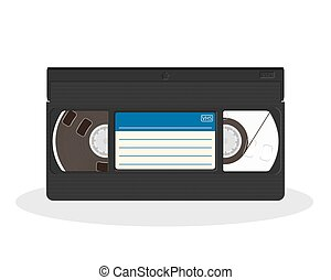 Retro video cassette with blue and white sticker isolated on...