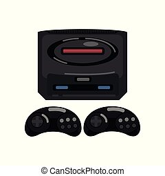 Retro video game controller vector Illustration on a white background