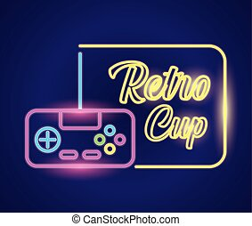 retro video game neon with control
