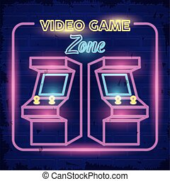 retro video game neon with machines