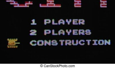 Retro video game Tank. Popular classic Nintendo game from the 80s. A game menu appears on the screen with a players choice