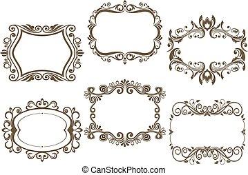 Retro vignettes and frames set