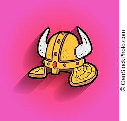 Retro Viking Helmet Vector