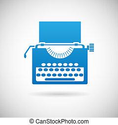 retro, vindima, criatividade, símbolo, máquina escrever,...