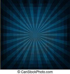 retro, vindima, quadrado, azul, sunburst
